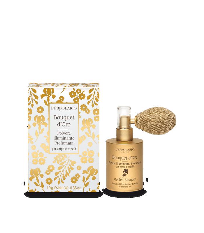 Bouquet de Oro Polvo Iluminante Perfumada Cuerpo y Cabello, Ed. Limintada, 10 g